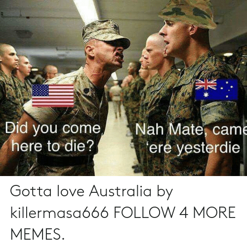 Dank, Love, and Memes: Nah Mate, came  ere yesterdie  Did you come,  here to die? Gotta love Australia by killermasa666 FOLLOW 4 MORE MEMES.