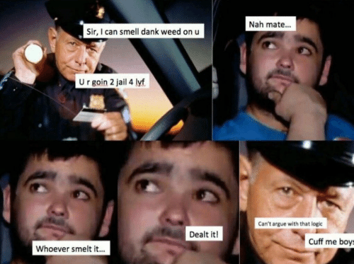 Arguing, Dank, and Jail: Nah mate...  Sir, I can smell dank weed on u  U r goin 2 jail 4 lyf  Can't argue with that logic  Dealt it!  Cuff me boys  Whoever smelt it...