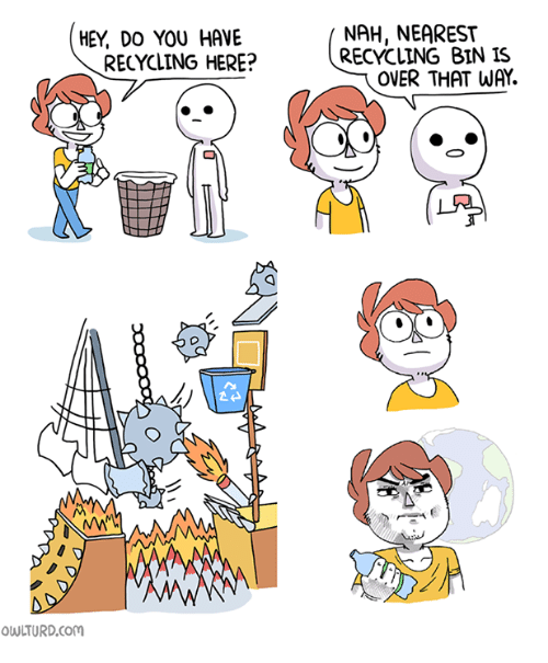 Memes, 🤖, and Com: NAH, NEAREST  RECYCLING BIN IS  HEY, DO YOU HAVE  RECYCLING HERE?  OVER THAT WAY.  ゼー  OWLTURD.com