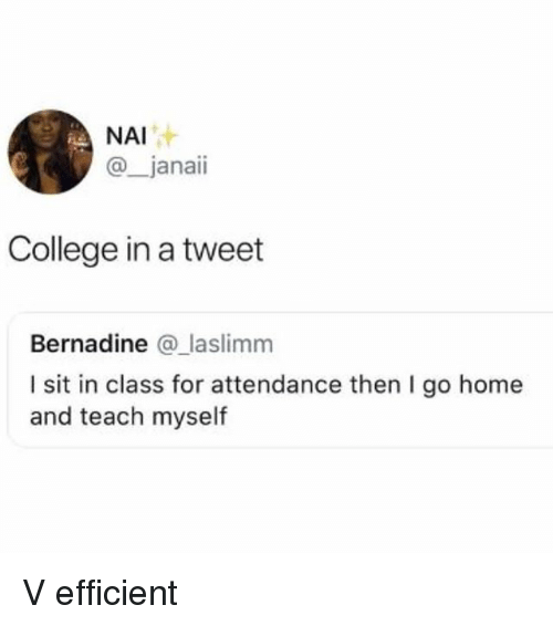 College, Home, and Girl Memes: NAI  @_janaii  College in a tweet  Bernadine @_laslimm  I sit in class for attendance then I go home  and teach myself V efficient