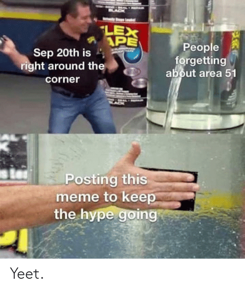 Hype, Meme, and Dank Memes: NAL  BLAC  LEX  APE  People  forgetting  about area 51  Sep 20th is  right around the  corner  ssl  Posting this  meme to keep  the hype going Yeet.