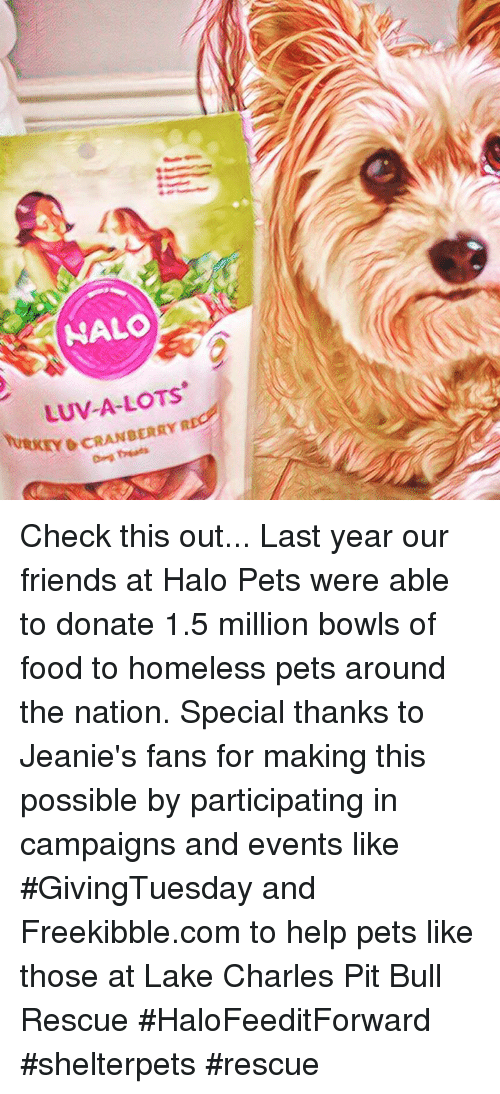 Food, Friends, and Halo: NALO  LUV-A-LOTS  O CRANBERRY R Check this out... Last year our friends at Halo Pets were able to donate 1.5 million bowls of food to homeless pets around the nation. Special thanks to Jeanie's fans for making this possible by participating in campaigns and events like #GivingTuesday and Freekibble.com to help pets like those at Lake Charles Pit Bull Rescue   #HaloFeeditForward #shelterpets #rescue