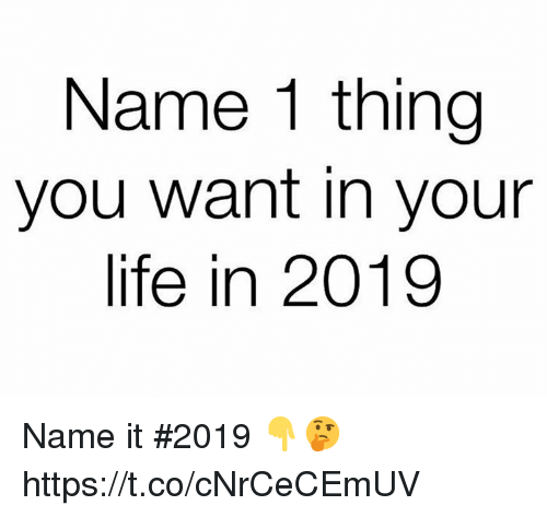Life, Name, and Thing: Name 1 thing  you want in your  life in 2019 Name it #2019 👇🤔 https://t.co/cNrCeCEmUV