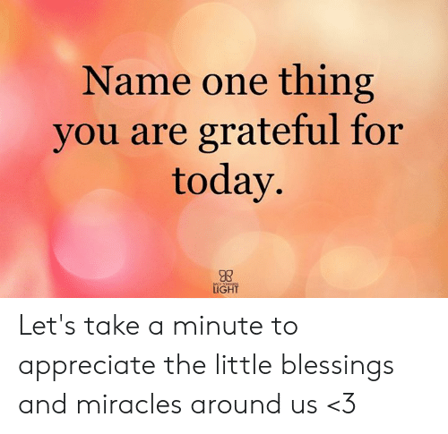 Memes, Appreciate, and Today: Name one thing  you are grateful for  today.  LIGHT Let's take a minute to appreciate the little blessings and miracles around us <3