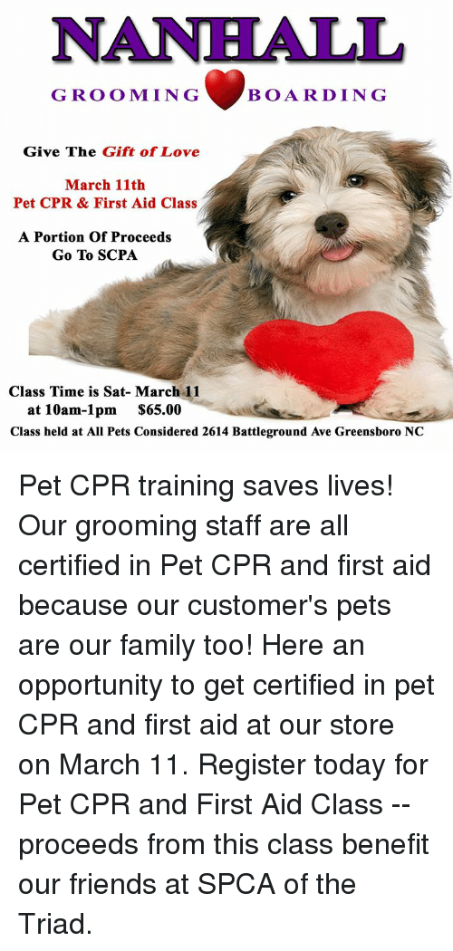 Nanhall Grooming Boarding Give The Gift Of Love March 11th Pet Cpr