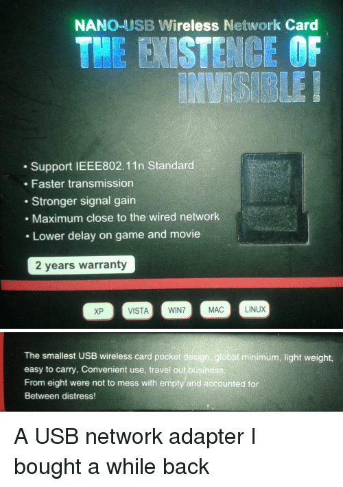 nanoeusb wireless network card the sten ce of support