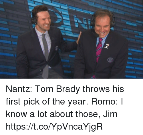 Tom Brady, Brady, and First: Nantz: Tom Brady throws his first pick of the year.  Romo: I know a lot about those, Jim https://t.co/YpVncaYjgR
