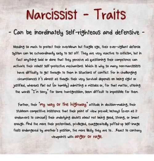 Narcissist Traits Can Be Inordinately Self-Righteous and