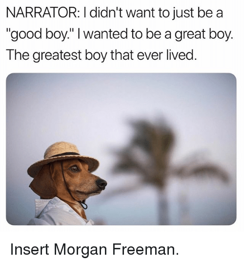 "Funny, Morgan Freeman, and Good: NARRATOR: I didn't want to just be a  ""good boy."" I wanted to be a great boy.  The greatest boy that ever lived. Insert Morgan Freeman."