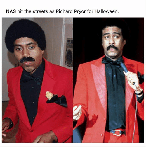 Halloween, Memes, and Nas: NAS hit the streets as Richard Pryor for Halloween.
