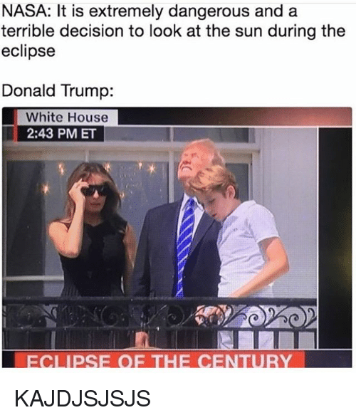 nasa it is extremely dangerous and a terrible decision to 27262867 ✅ 25 best memes about the eclipse the eclipse memes