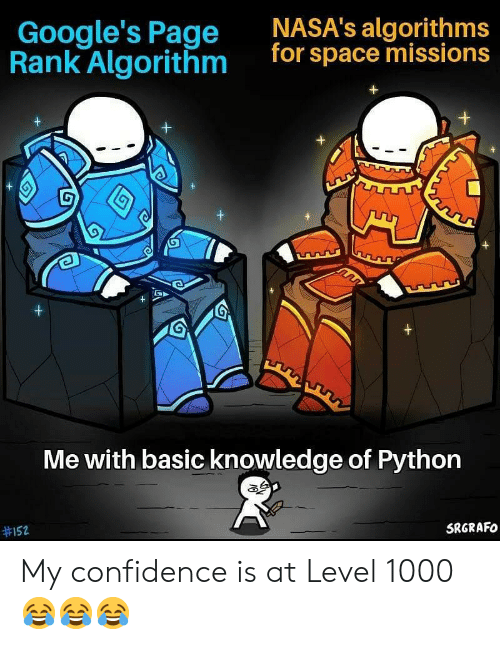 Confidence, Space, and Knowledge: NASA's algorithms  for space missions  Google's Page  Rank Algorithm  G  +  +  Me with basic knowledge of Python  SRGRAFO  My confidence is at Level 1000 😂😂😂