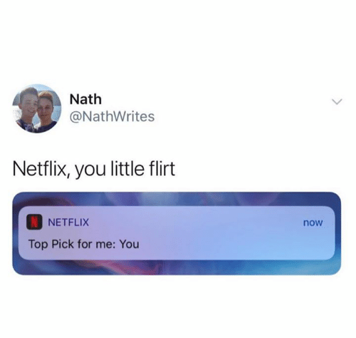 Netflix, Top, and You: Nath  @NathWrites  Netflix, you little flirt  NETFLIX  now  Top Pick for me: You