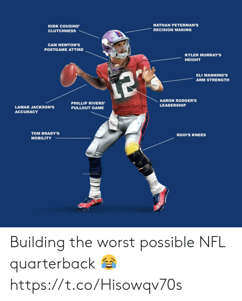 Aaron Rodgers, Football, and Kirk Cousins: NATHAN PETERMAN'S  KIRK COUSINS'  DECISION MAKING  CLUTCHNESS  CAM NEWTON'S  POSTGAME ATTIRE  KYLER MURRAY'S  HEIGHT  ELI MANNING'S  12  ARM STRENGTH  AARON RODGER'S  PHILLIP RIVERS'  LEADERSHIP  LAMAR JACKSON'S  PULLOUT GAME  ACCURACY  TOM BRADY'S  RGIII'S KNEES  MOBILITY  MEMESOFNFL Building the worst possible NFL quarterback 😂 https://t.co/Hisowqv70s