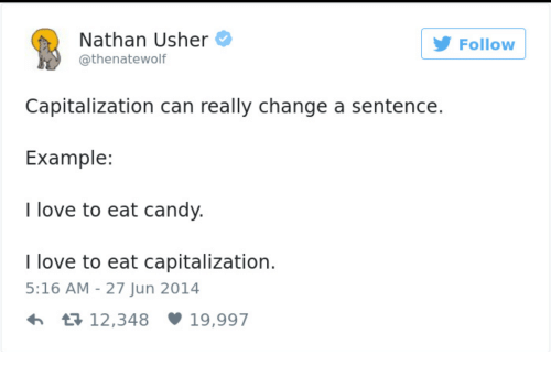 Candy, Love, and Usher: Nathan Usher  @thenatewolf  Follow  Capitalization can really change a sentence.  Example:  I love to eat candy.  love to eat capitalization.  5:16 AM - 27 Jun 2014  わ 12,348 19,997