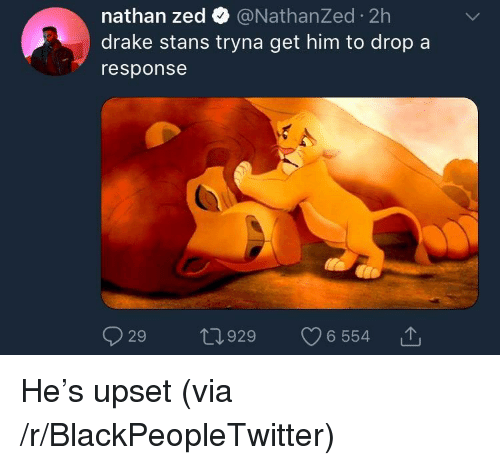 Blackpeopletwitter, Drake, and Zed: nathan zed @NathanZed 2h  drake stans tryna get him to drop a  response  029 ロ929 v6554 で <p>He's upset (via /r/BlackPeopleTwitter)</p>