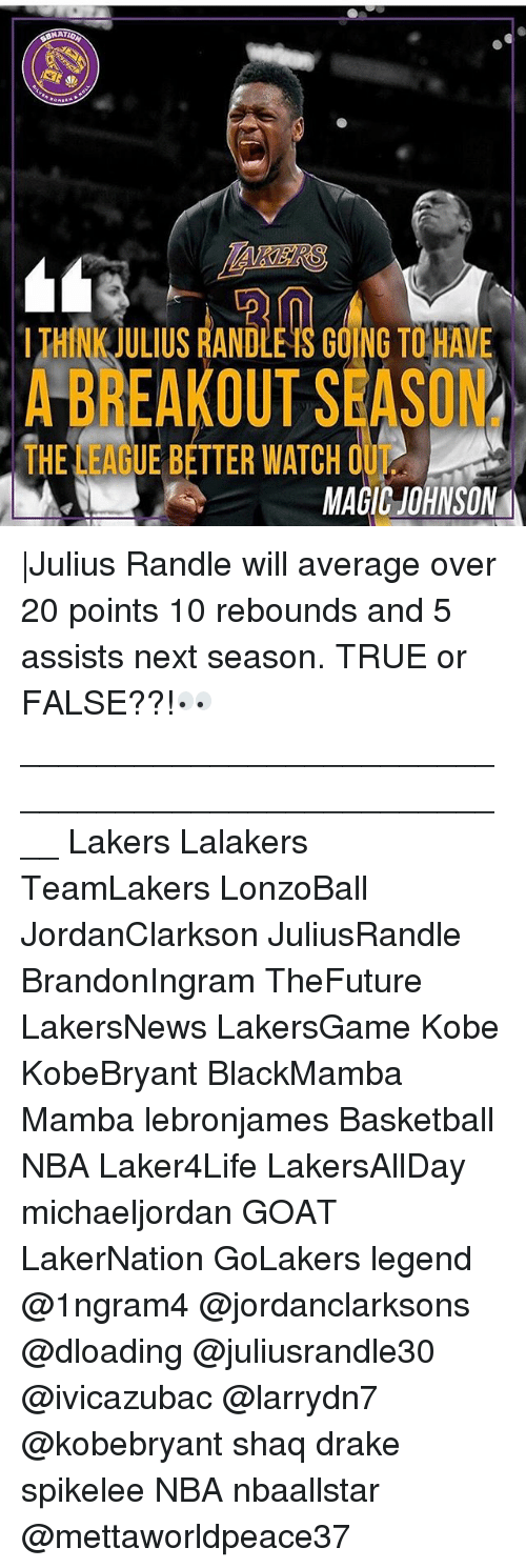 Basketball, Drake, and Los Angeles Lakers: NATIO  LTHINK JULIUS RANDLE TS GOING TOHAVE  A BREAKOUT SEASON  T U  THINK JULIUS RANDLE TS GOING TO HAVE  THE LEAGUE BETTER WATCH O  MAGIC JOHNSON |Julius Randle will average over 20 points 10 rebounds and 5 assists next season. TRUE or FALSE??!👀 ____________________________________________________ Lakers Lalakers TeamLakers LonzoBall JordanClarkson JuliusRandle BrandonIngram TheFuture LakersNews LakersGame Kobe KobeBryant BlackMamba Mamba lebronjames Basketball NBA Laker4Life LakersAllDay michaeljordan GOAT LakerNation GoLakers legend @1ngram4 @jordanclarksons @dloading @juliusrandle30 @ivicazubac @larrydn7 @kobebryant shaq drake spikelee NBA nbaallstar @mettaworldpeace37