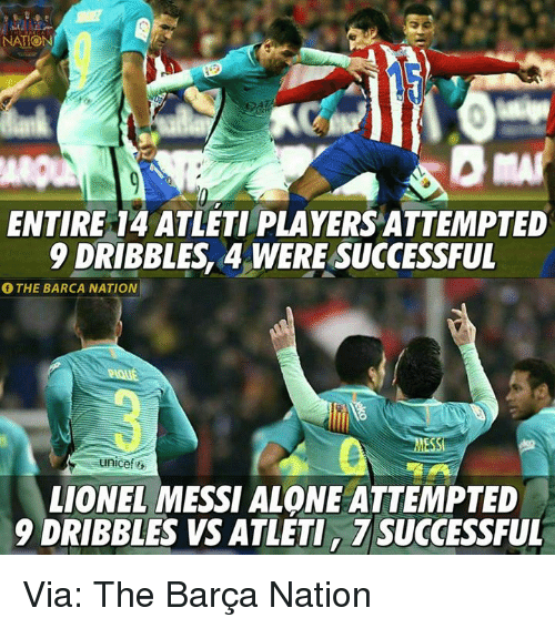 Memes, 🤖, and Unicef: NATION  ENTIRE 14 ATLETI PLAYERSATTEMPTED  DRIBBLES4 WERE SUCCESSFUL  THE BARCA NATION  unicef  LIONEL MESSI ALONE ATTEMPTED  9 DRIBBLES VS ATLETI, TSUGCESSFUL Via: The Barça Nation