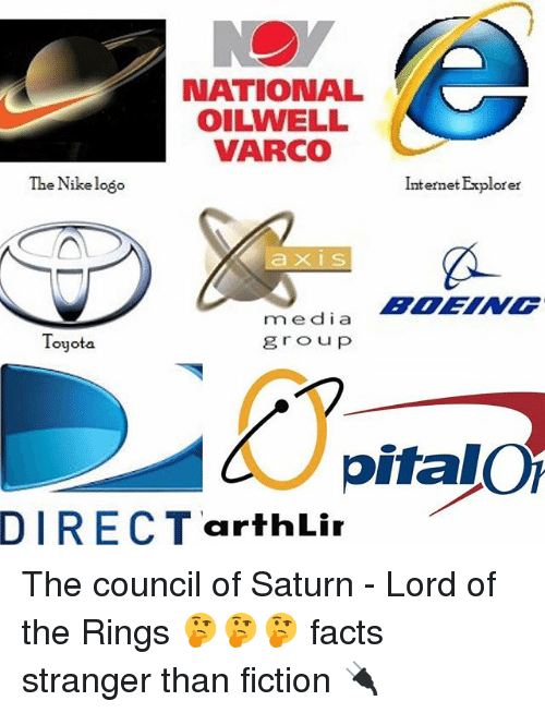 Facts, Internet, and Memes: NATIONAL  OILWELL  VARCO  The Nike logo  rm e dia  Toyota  group  DIRECT arthLir  Internet Explorer  pitalOT The council of Saturn - Lord of the Rings 🤔🤔🤔 facts stranger than fiction 🔌