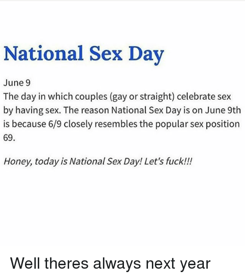 What day is national sex day