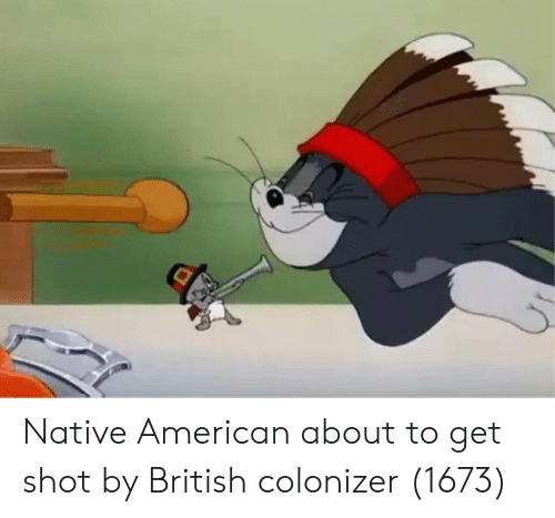 Native American, American, and British: Native American about to get shot by British colonizer (1673)