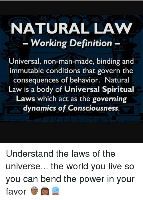 NATURAL LAVV Working Definition Universal Non-Man-Made