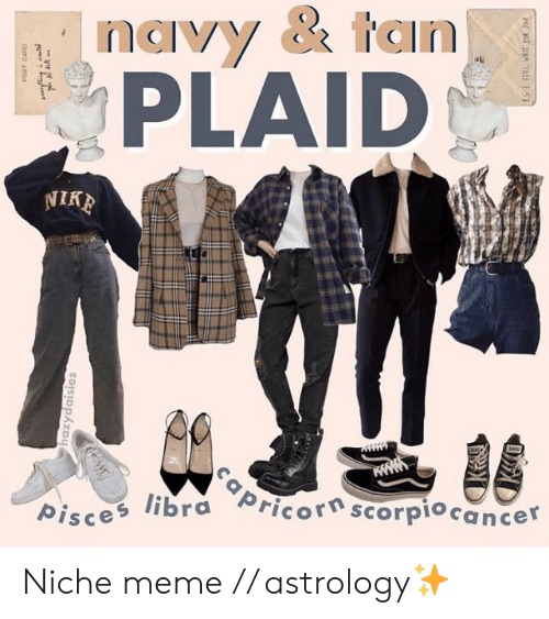 Meme, Astrology, and Libra: navy & tan  PLAID  libra Pricor scorpiocancer  pisce Niche meme // astrology✨