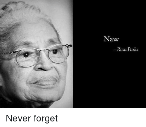 Rosa Parks, Dank Memes, and Never: Naw  Rosa Parks Never forget