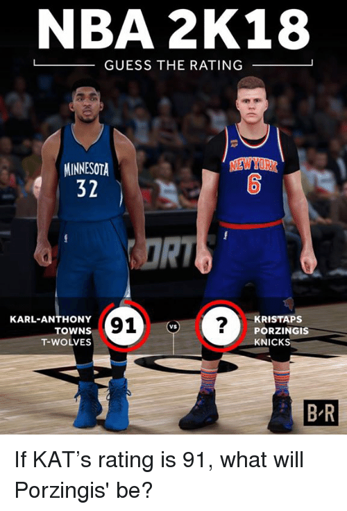 New York Knicks, Kristaps Porzingis, and Nba: NBA 2K18  -GUESS THE RATING  NEW YORK  MINNESOTA  32  0  RI  KARL-ANTHONY  TOWNS  T-WOLVES  91?  KRISTAPS  PORZINGIS  KNICKS  VS  B-R If KAT's rating is 91, what will Porzingis' be?