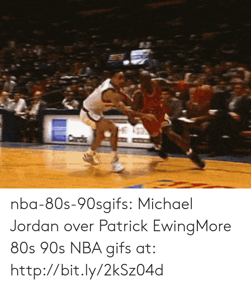 80s, Michael Jordan, and Nba: nba-80s-90sgifs:  Michael Jordan over Patrick EwingMore 80s  90s NBA gifs at: http://bit.ly/2kSz04d