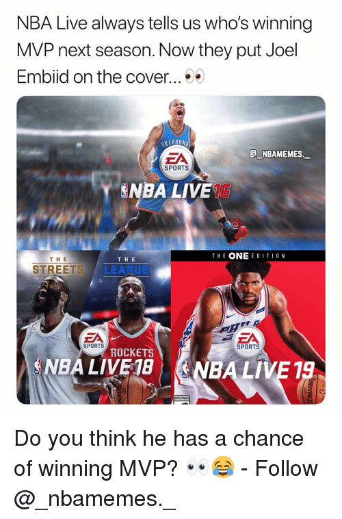 Memes, Nba, and Sports: NBA Live always tells us who's winning  MVP next season. Now they put Joel  Emblid on the cover ..  ZA  NBAMEMES  SPORTS  ˇ NBA LIVETS  THE ONE E D ITI0 N  TH E  T H E  STREETS LEARUE  SPORTS  SPORTS  ROCKETS  ENBA LIVE 18  (NBA LİVE 19 Do you think he has a chance of winning MVP? 👀😂 - Follow @_nbamemes._
