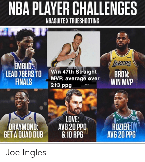 Philadelphia 76ers, Finals, and Love: NBA PLAYER CHALLENGES  NBASUITE X TRUESHOOTING  wish  AKERS  EMBILD  LEAD 76ERS TO  FINALS  Win 47th Straight  MVP, average over  213 ppg  BRON:  WIN MVP  LOVE:  AVG 20 PPG  &10 RPG  ROZIER:N  AVG 20 PPG  DRAYMOND:  GET A QUAD DUB Joe Ingles