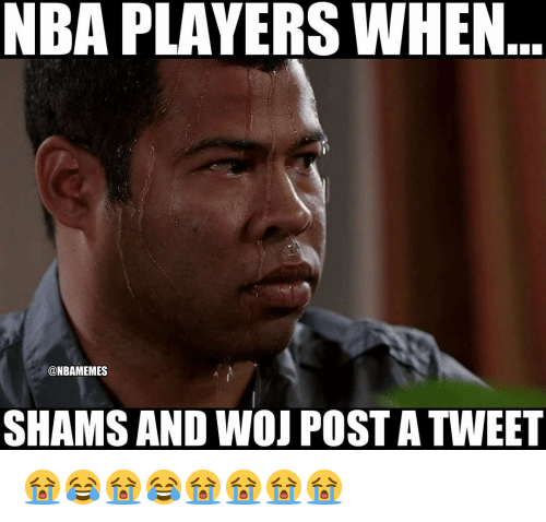 Nba, Tweet, and Post: NBA PLAYERS WHEN  @NBAMEMES  SHAMS AND WOJ POST A TWEET 😭😂😭😂😭😭😭😭