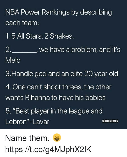 "God, Memes, and Nba: NBA Power Rankings by describing  each team  1.5 All Stars. 2 Snakes  2  Melo  3.Handle god and an elite 20 year old  4. One can't shoot threes, the other  wants Rihanna to have his babies  5. ""Best player in the league and  Lebron""-Lavar  we have a problem, and it's  @NBAMEMES Name them. 😁 https://t.co/g4MJphX2lK"