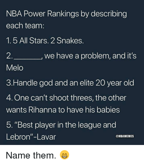"God, Nba, and Rihanna: NBA Power Rankings by describing  each team:  1.5 All Stars. 2 Snakes.  2  Melo  3.Handle god and an elite 20 year old  4. One can't shoot threes, the other  wants Rihanna to have his babies  5. ""Best player in the league and  Lebron""-Lavar  we have a problem, and it's  @NBAMEMES Name them. 😁"