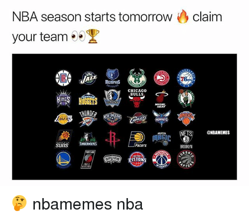 Basketball, Chicago, and Chicago Bulls: NBA season starts tomorrowclaim  your team  MEMPHIS  CHICAGO  BULLS  HEAT  HUNDE  ET  @NBAMEMES  Pacers  BROOKLYN  ISTONS 🤔 nbamemes nba