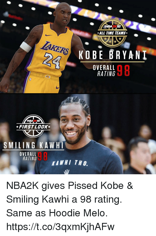 Kobe Bryant, Memes, and Kobe: NBA2K18  ALL TIME TEAMS  KOBE BRYANT  OVERALL  RATING  98  NBA2K18  FIRSTLOOK  SMILING KAWH  OVERALL  RATING  98  KAWHI TH O. NBA2K gives Pissed Kobe & Smiling Kawhi a 98 rating. Same as Hoodie Melo. https://t.co/3qxmKjhAFw
