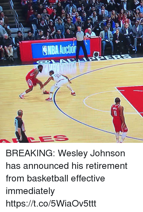 Basketball, Sports, and Breaking: NBAAuctior BREAKING: Wesley Johnson has announced his retirement from basketball effective immediately https://t.co/5WiaOv5ttt