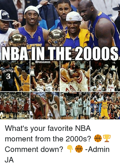 """Nba, Iris, and Filipino (Language): NBAIN THE2000S  @PERSOURCES e  NERS/  KEPS  """"We iri . NANA stse/ 宝P5107  PST  zay What's your favorite NBA moment from the 2000s? 🏀🏆 Comment down? 👇🏀  -Admin JA"""