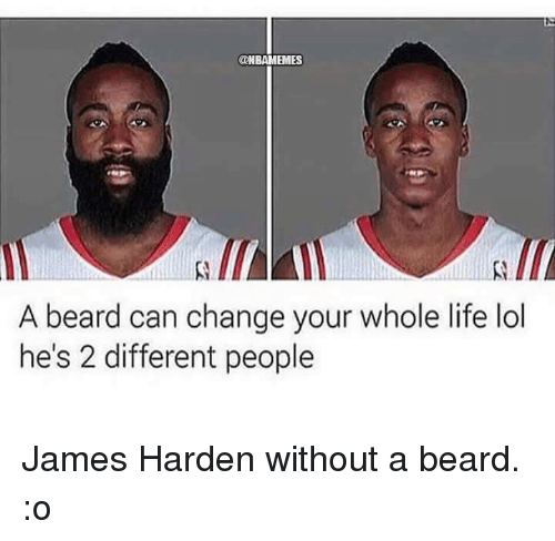 nbamemes a beard can change your whole life lol hes 18176873 a beard can change your whole life lol he's 2 different people james