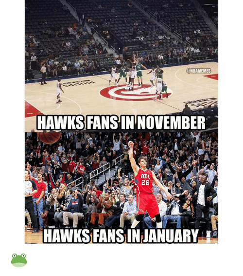 Nba, Hawks, and  Hawk: NBAMEMES  HAWKS FANS IN NOVEMBER  ATL  26  HAWKS FAN INJANUARY 🐸