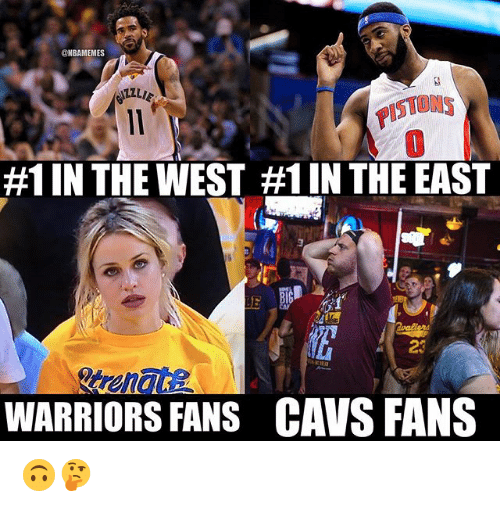 Cavs, Nba, and Warriors: NBAMEMES  STONS  #1 IN THE WEST #1 IN THE EAST  23  WARRIORS FANS  CAVS FANS 🙃🤔