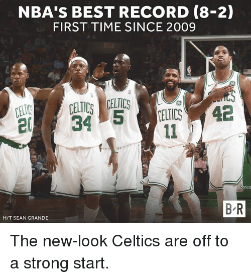 Best, Celtics, and Record: NBA'S BEST RECORD (8-2)  FIRST TIME SINCE 2009  B R  H/T SEAN GRANDE The new-look Celtics are off to a strong start.
