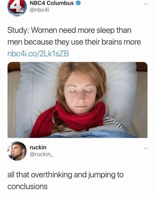Brains, Women, and Girl Memes: NBC4 Columbus  @nbc4i  UM  Study: Women need more sleep than  men because they use their brains more  nbc4i.co/2Lk1sZB  ruckin  @ruckin  all that overthinking and jumping to  conclusions