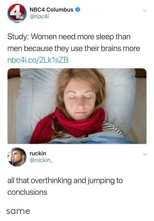 Brains, Women, and All That: NBC4 Columbus  @nbc4i  UM  Study: Women need more sleep than  men because they use their brains more  nbc4i.co/2Lk1sZB  ruckin  @ruckin  all that overthinking and jumping to  conclusions same