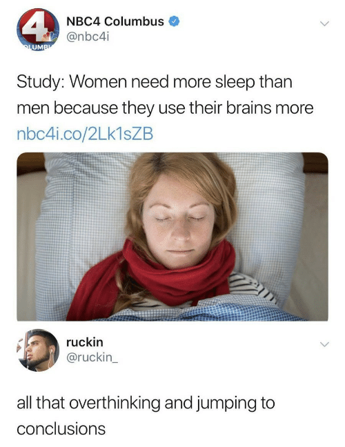 Brains, Women, and All That: NBC4 Columbus  @nbc4i  UM  Study: Women need more sleep than  men because they use their brains more  nbc4i.co/2Lk1sZB  ruckin  @ruckin  all that overthinking and jumping to  conclusions