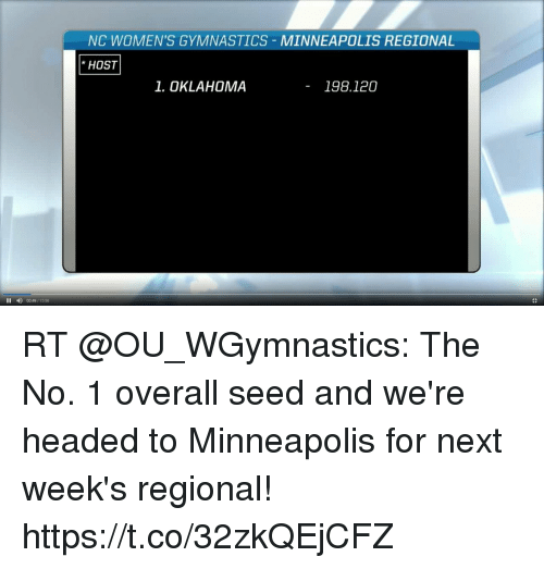 me.me: NC WOMEN'S GYMNASTICS MINNEAPOLIS REGIONAL  HOST  1. OKLAHOMA  - 198.120  II 00:49/1556 RT @OU_WGymnastics: The No. 1 overall seed and we're headed to Minneapolis for next week's regional! https://t.co/32zkQEjCFZ