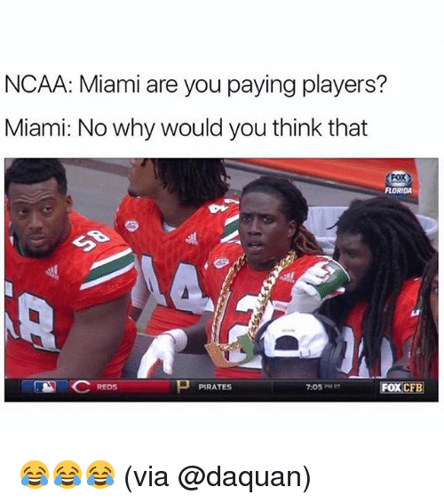 Daquan, Memes, and Florida: NCAA: Miami are you paying players?  Miami: No why would you think that  FLORIDA  REDS  PIRATES  7:05PMEr  FOX CFB 😂😂😂 (via @daquan)