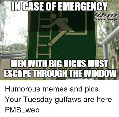Dicks, Internet, and Memes: NCASE OF EMERGENCY  Internet Scers  MEN WITH BIG DICKS MUST İ  ESCAPE THROUGH THE WINDOW <p>Humorous memes and pics  Your Tuesday guffaws are here  PMSLweb </p>