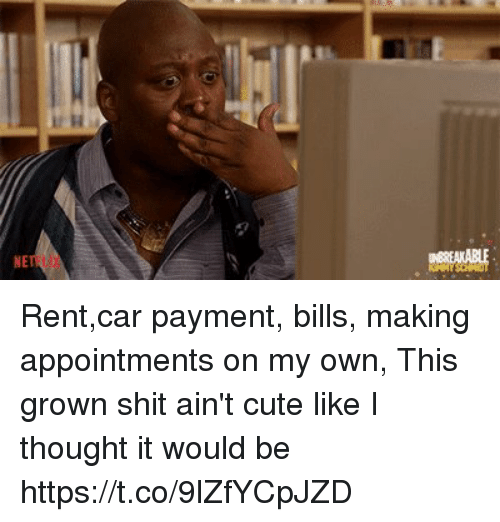 Cute, Funny, and Shit: NE Rent,car payment, bills, making appointments on my own, This grown shit ain't cute like I thought it would be https://t.co/9lZfYCpJZD